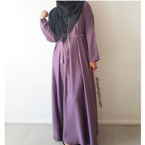 Plain Purple Loose Abaya with Zip