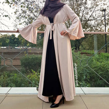 Bell Sleeve Cream Open Abaya