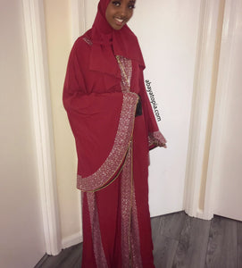 Exaggerated Bell Sleeves with Rhinestones Open Abaya - Deep Red