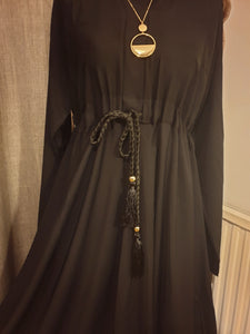 Plain Closed Belted Umbrella Cut Flared Abaya - Black