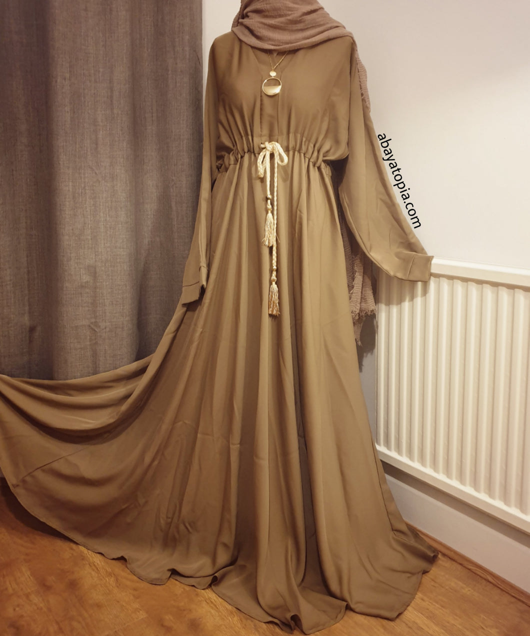 Plain Closed Belted Umbrella Cut Flared Abaya - Brown