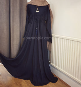 Plain Closed Belted Umbrella Cut Flared Abaya - Navy