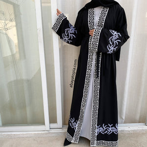 Black with White Embroidery Open Abaya