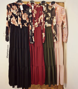 Lavalliere Floral Dress - Diff Colours