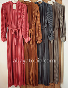 Pleated Lined Chiffon Dress - Diff Colours