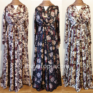 Crossover Wrap Chest Floral Plum Satin Maxi Dress - Diff Colours