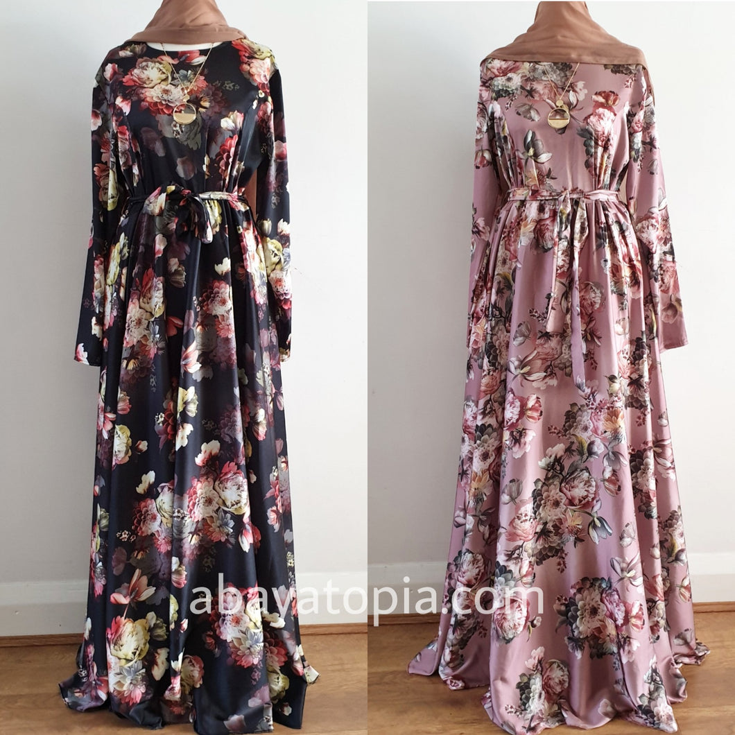 Satin Floral Flare Round Neck Maxi Dress - Diff Colours