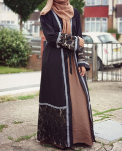 Hania Black Net Open Abaya