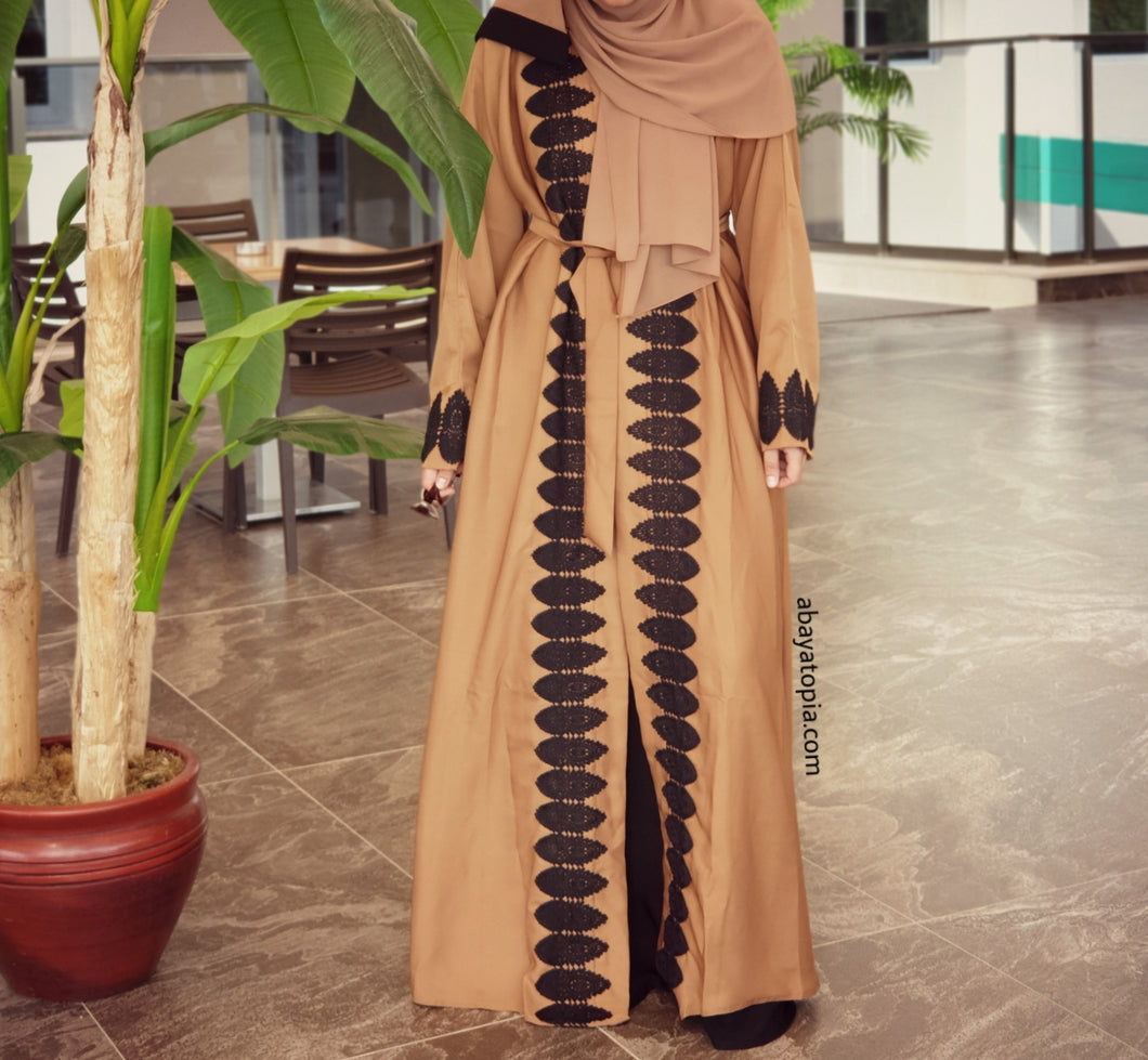Tan with Black Lace 2-in-1 Double Abaya - Full Set