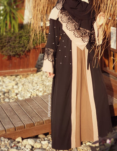Pearls and Black Lace Abaya with Matching Hijab