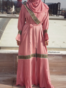 Sultana Pleated Pink Abaya