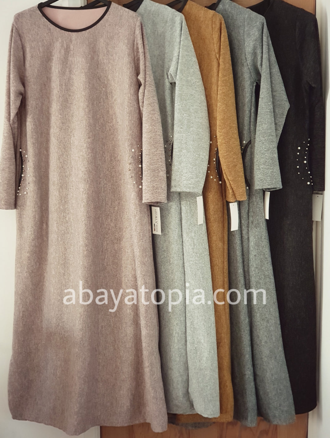 Warm Loose Dress with Pearl Detail  - Diff Colours