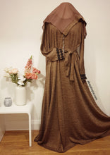 Brown Marl Flared Closed Abaya with Zip- Full Set