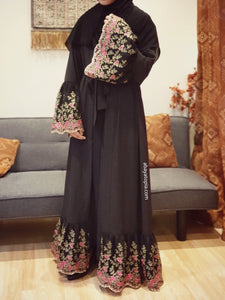 Black with Floral Pink Frilled Lace Open Abaya