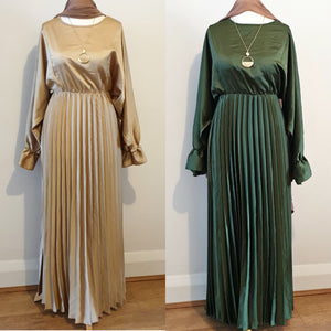 Satin Half Pleated Batwing Maxi Dress - Diff Colours