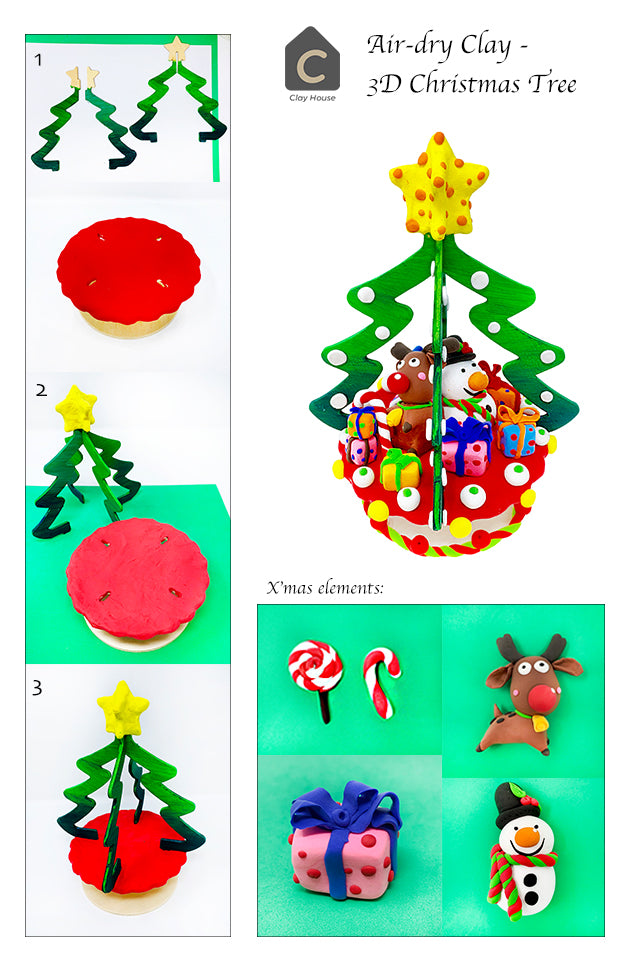 Christmas Projects with Air Dry Clay: Christmas Tree with Star Topper
