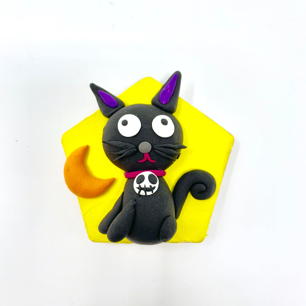 Make a Witch's Black Cat with Air Dry Clay