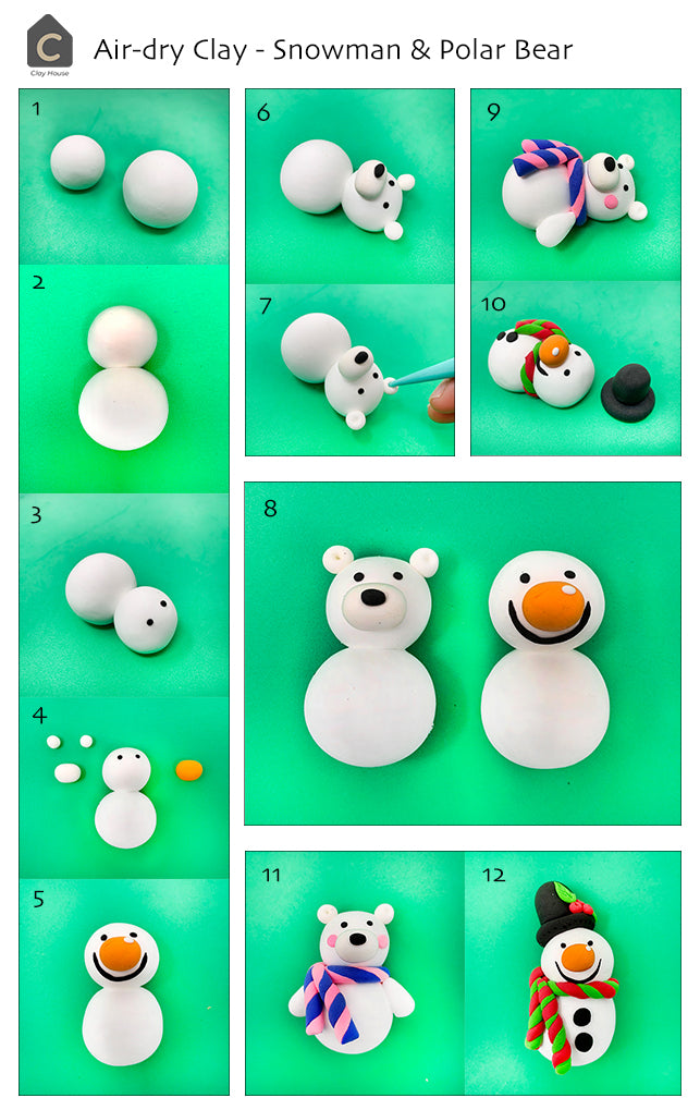 Christmas Essentials with Air Dry Clay: Snowman and Polar Bear