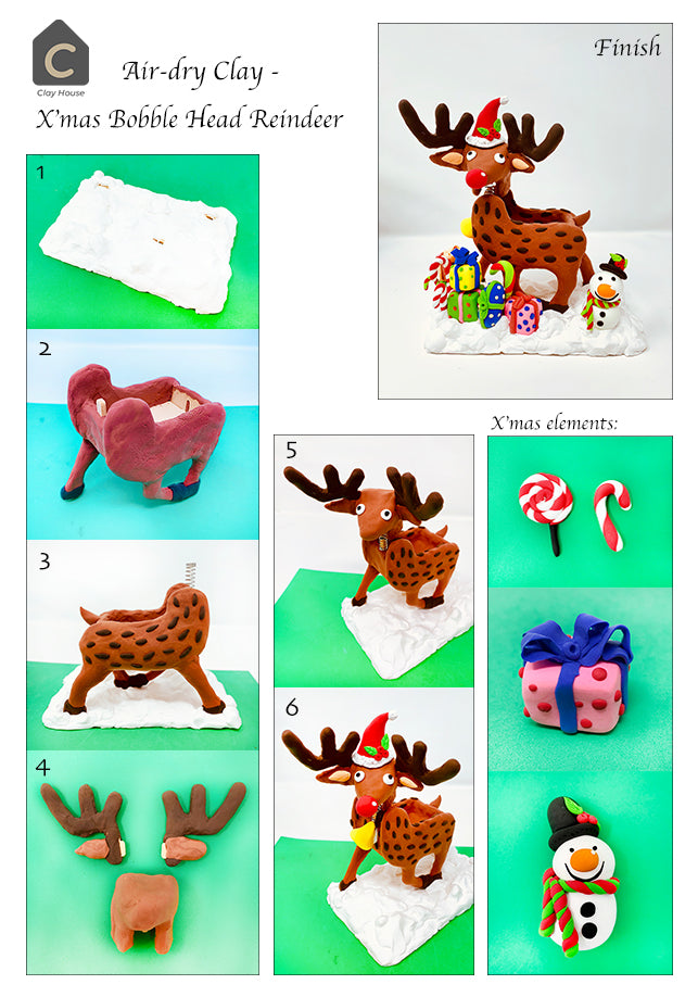 Christmas Projects with Air Dry Clay: Reindeer Bobble Head