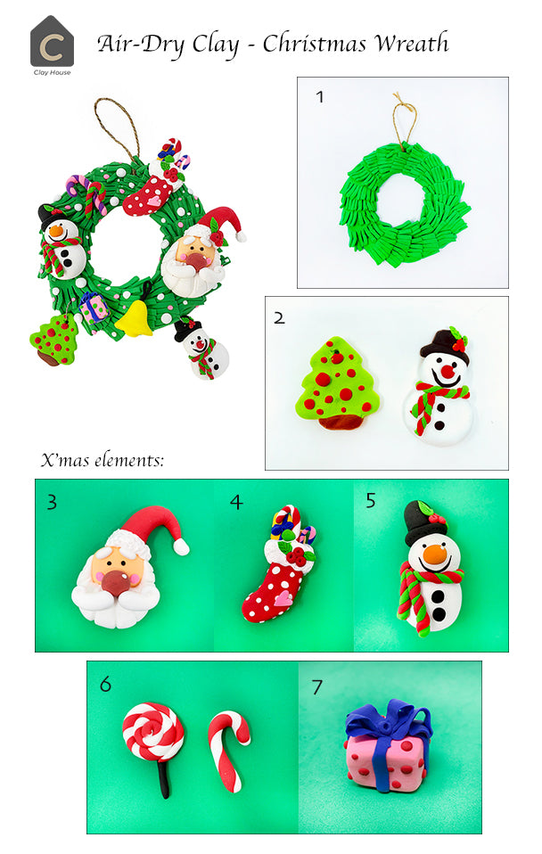 Christmas Projects with Air Dry Clay: Christmas Wreath