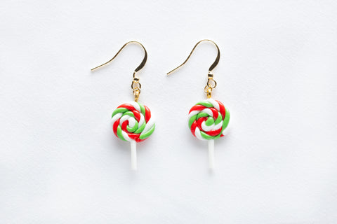 Christmas Lollipop Hook Earrings