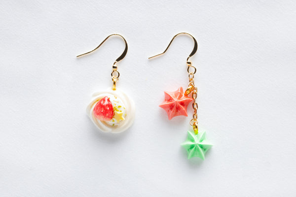 Strawberry Cream Swirl Hook Earrings