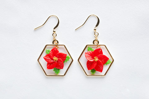 Poinsettia Hexagon Hoop Hook Earrings