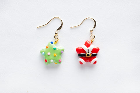 Christmas Tree and Santa Star Shaped Hook Earrings