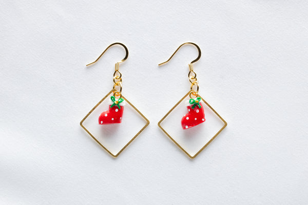 Christmas Stocking Diamond Hoop Hook Earrings