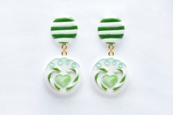 Geometric Candy Cane Pattern Hook Earrings