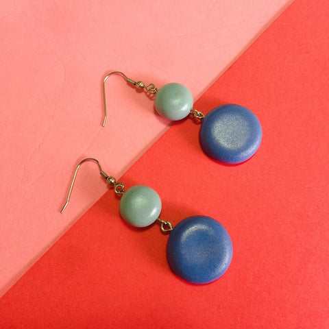 Blue and Green Round Clay Earrings