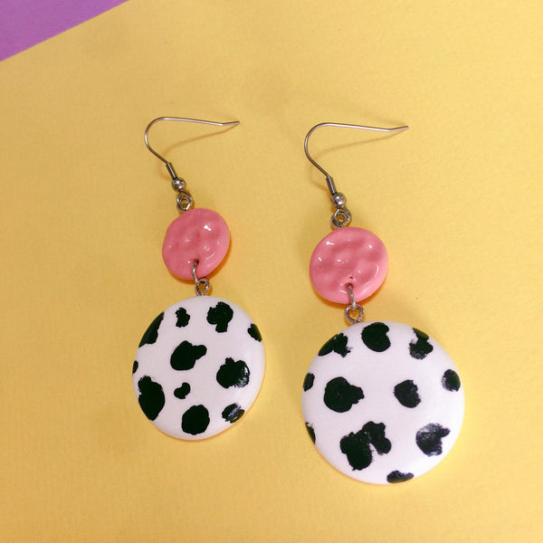 Cow Circular Clay Earrings