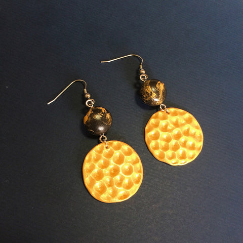 Golden Marble Clay Earrings