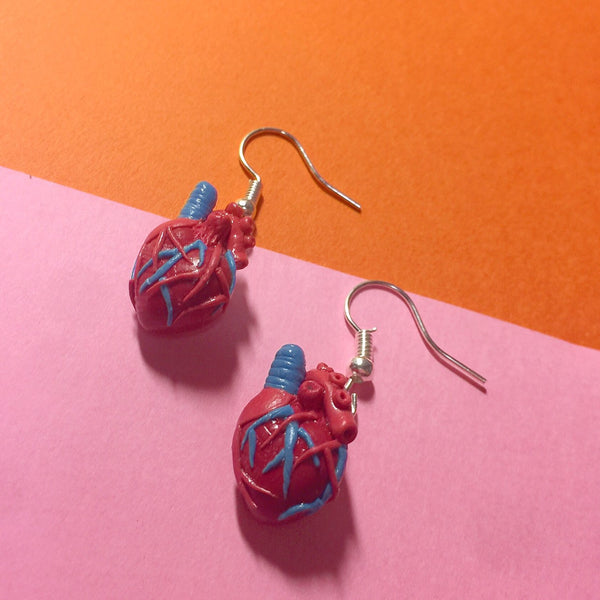 Exposed Heart Air Dry Clay Earrings
