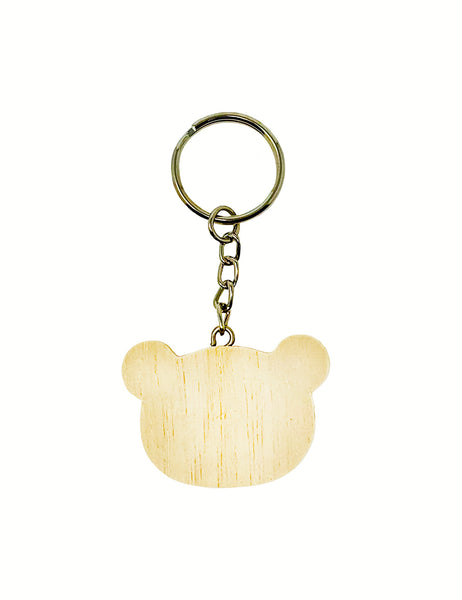 Bear Shaped Wood Keychain Pack of 10