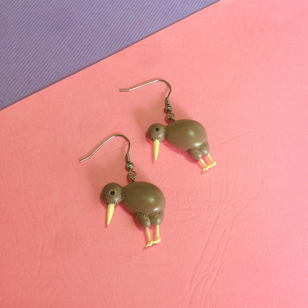 Kiwi Bird Clay Earrings