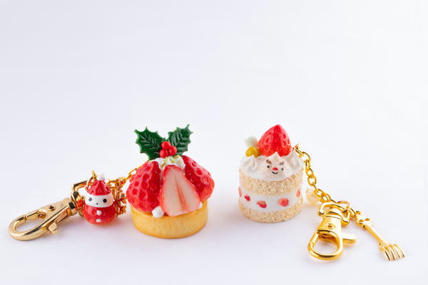 Strawberry Cake Christmas Keychain