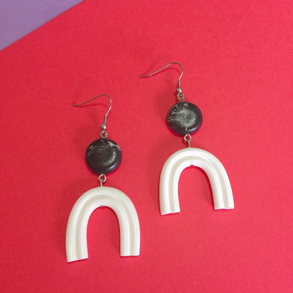 White Rainbow Clay Earrings
