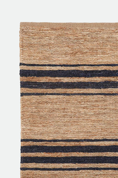 byron stripe rug natural/indigo
