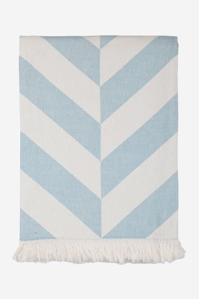 chevron beach blanket sky blue