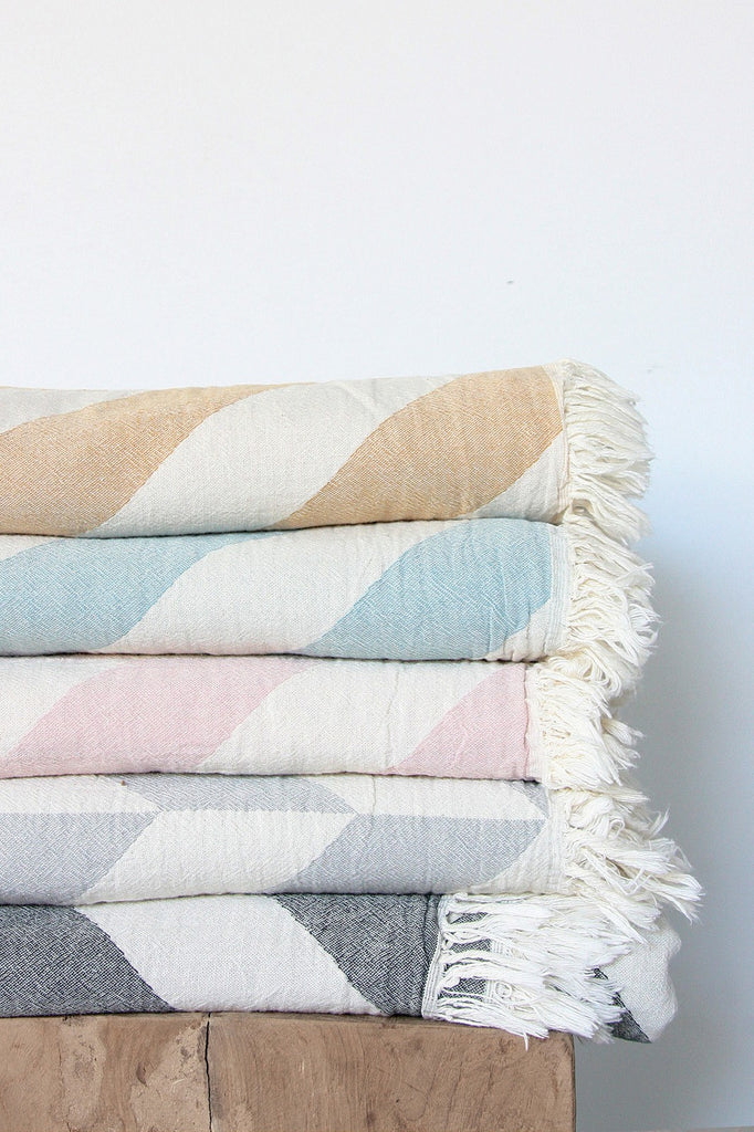 chevron throw sky blue