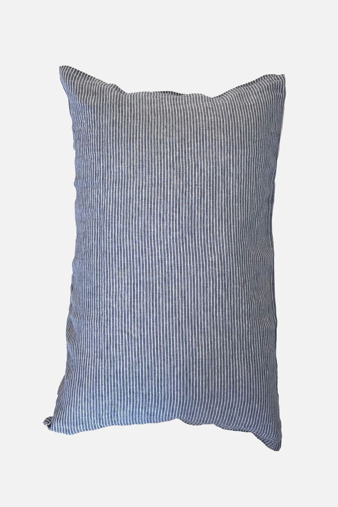 washed pure linen pillowcase blue stripe