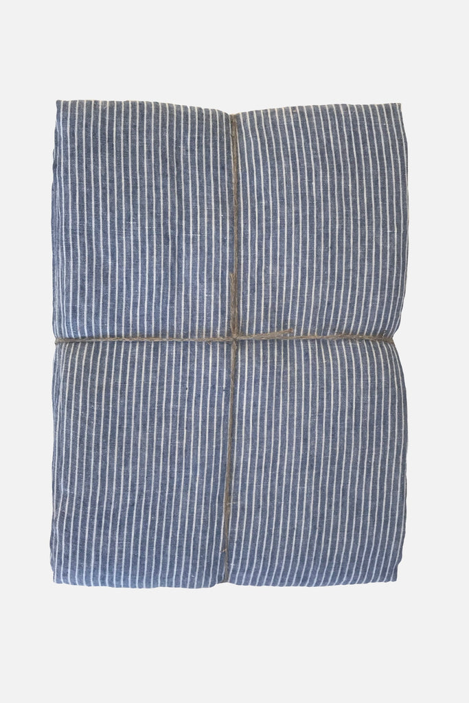 washed pure linen duvet cover blue stripe
