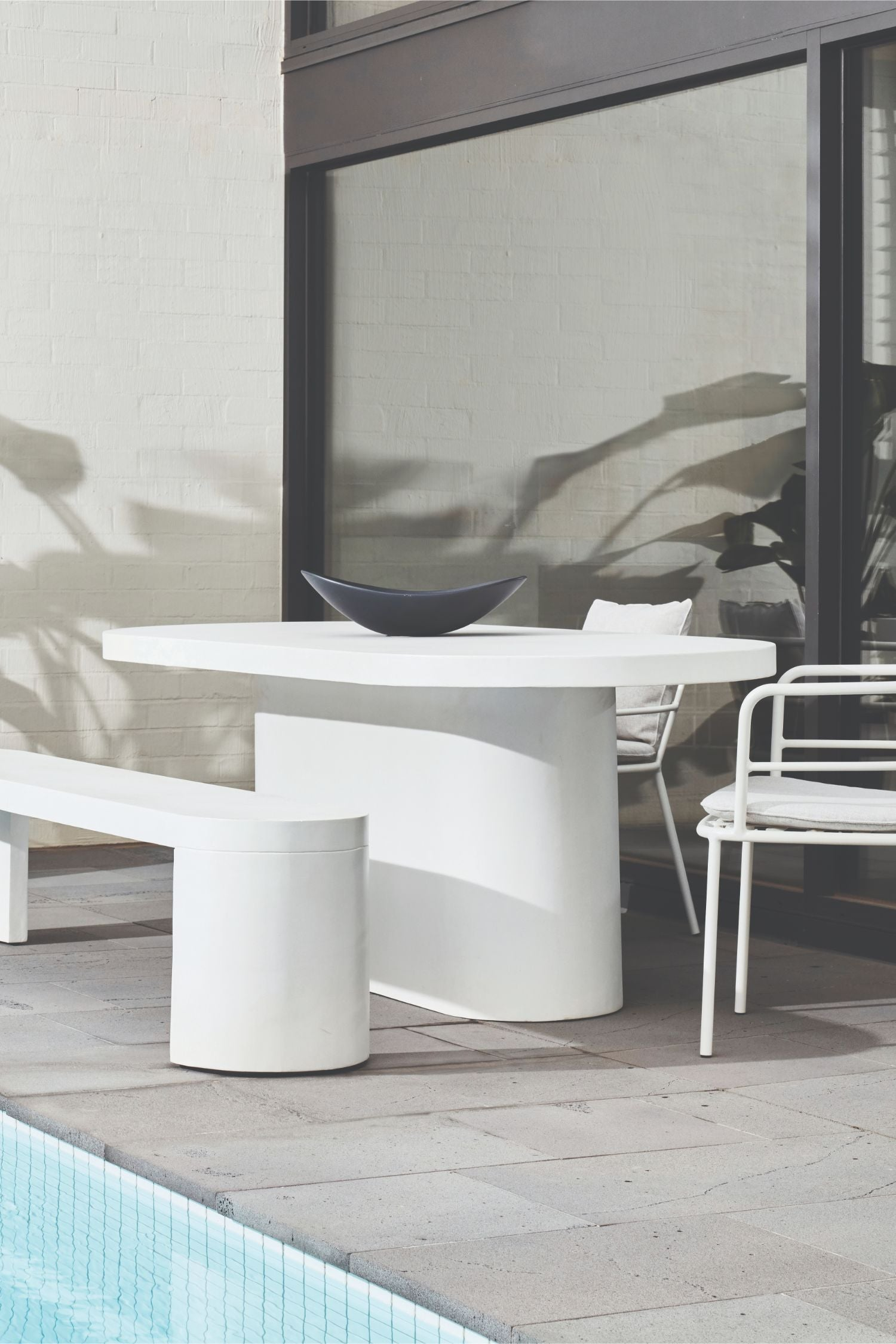 new chums outdoor concrete table off white