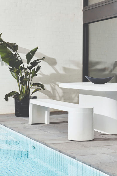 new chums concrete bench white - seats 4