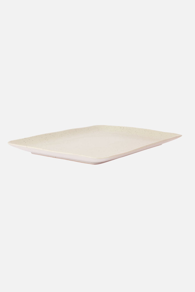 speckle rectangle platter white