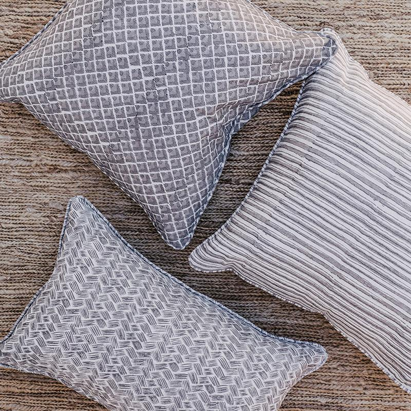 ticking stripe cushion cover clay