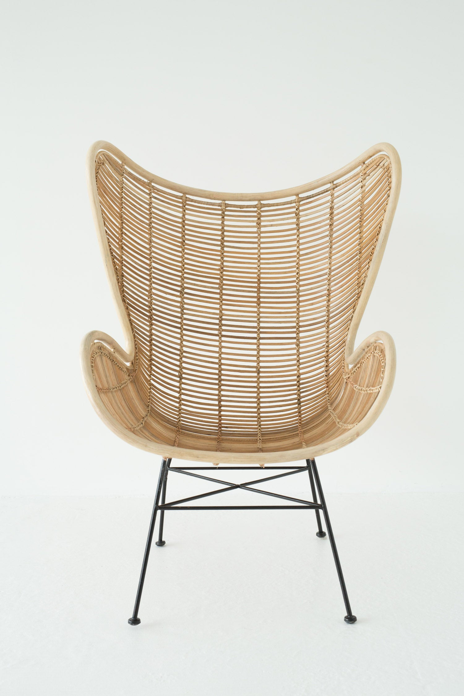 laid-back rattan chair