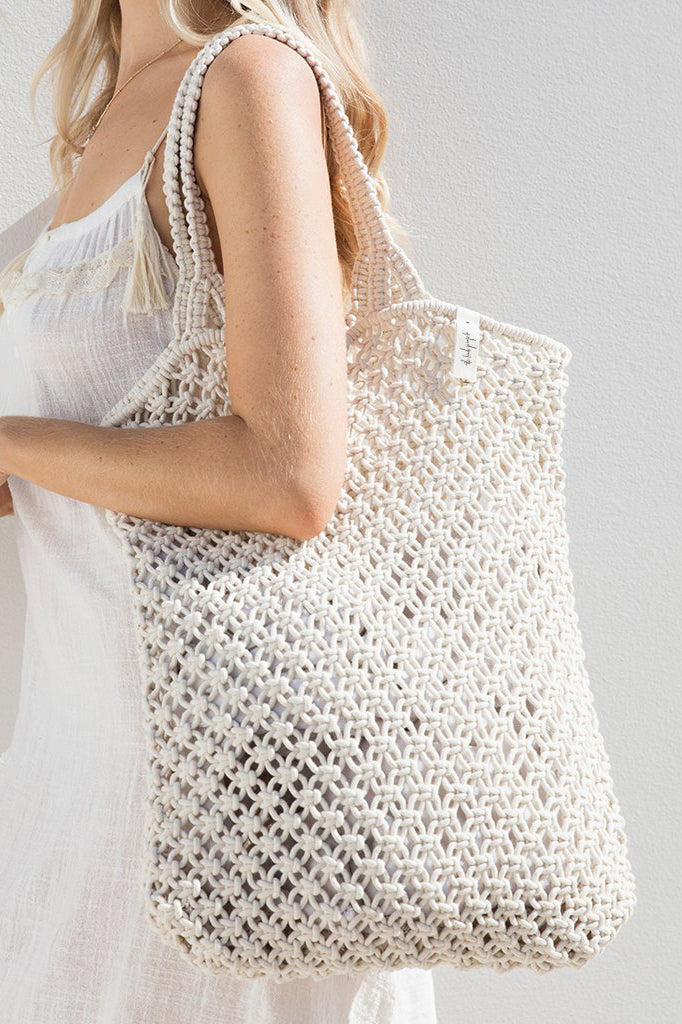 macrame tote bag natural white