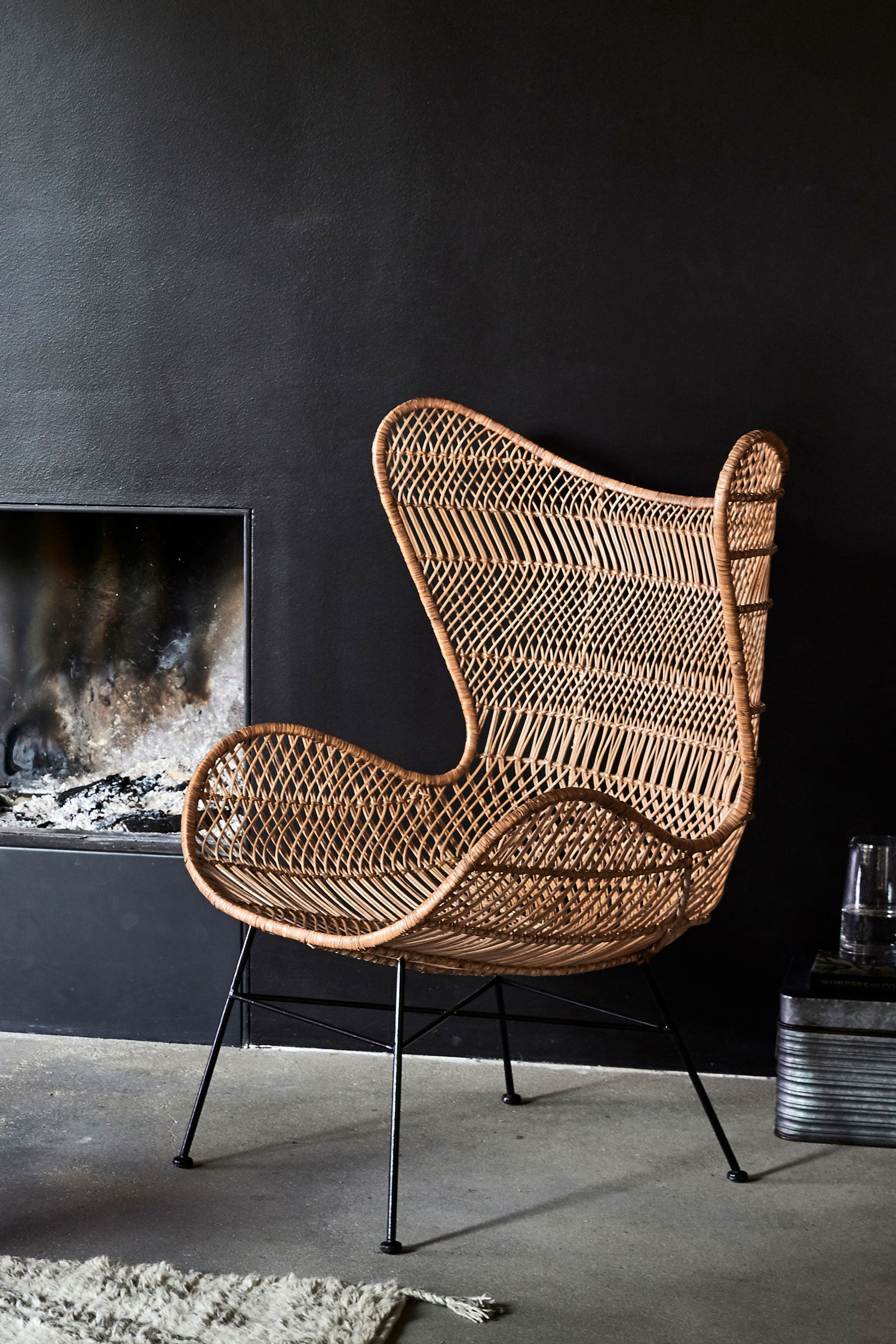 laid-back rattan chair bohemian style